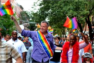 Bill de Blasio made history at the Pride Parade