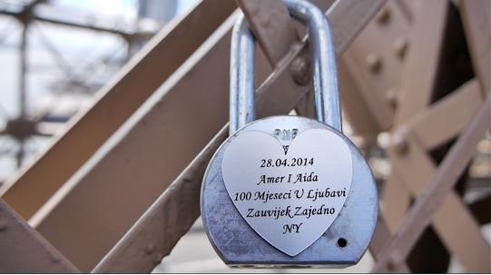 A lock of love on the Brooklyn Bridge. Photo by Dipti Kumar