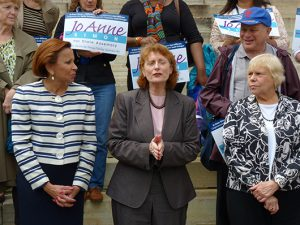 Jo Anne Simon announces her bid for state Assembly. Photo by Mary Frost
