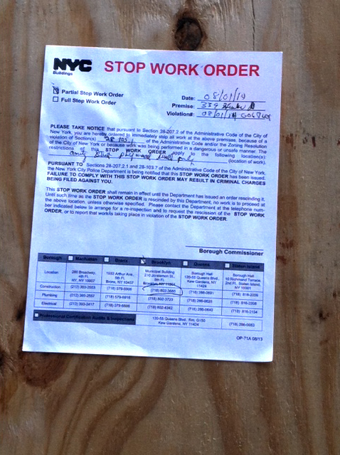 Stop Work Order at SUNY's unpermitted construction site at LICH. Sent in by a Brooklyn Eagle reader