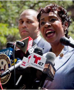U.S. Rep. Yvette Clarke charged that the military's policy on hairstyles was discriminatory against African-Americans. She praised the policy change recently announced by U.S. Defense Secretary Charles Hagel. AP photo