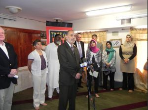Dr. Husam Rimawi, president of the Islamic Society of Bay Ridge, condemned the anti-Muslim incident during a press conference held a few days later. Eagle photo by Paula Katinas