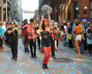 The Hungry March Band at the DUMBO Arts Festival 2014. Photo by Mary Frost
