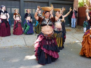 Mimi Soltana's tribal belly-dance troupe  at the Cranberry Street Fair in Brooklyn Heights. Photo by Mary Frost