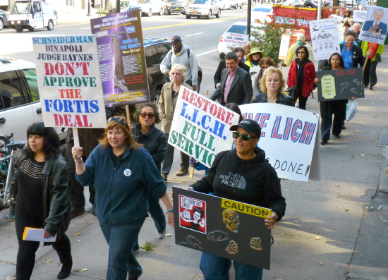 Brooklyn residents and officials marched down Atlantic Avenue on Sunday to rally for Long Island College Hospital (LICH) in Cobble Hill. Photos by Mary Frost
