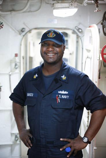 Petty Officer 1st Class Miguel Barker is serving aboard the USS John S. McCain in Japan.
