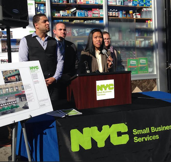 Department of Small Business Services Comissioner Maria Torres-Springer speaks about the city services available for impacted small businesses with Councilmember Mark Treyger, Executive Director of Alliance for Coney Island Johanna Zaki and the owner of JR Island Meat Market.
