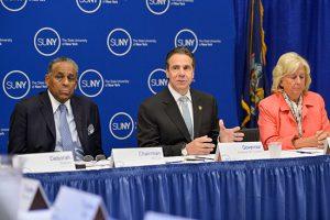 SUNY Chairman Carl McCall, Gov. Andrew Cuomo and special advisor Linda Fairstein.