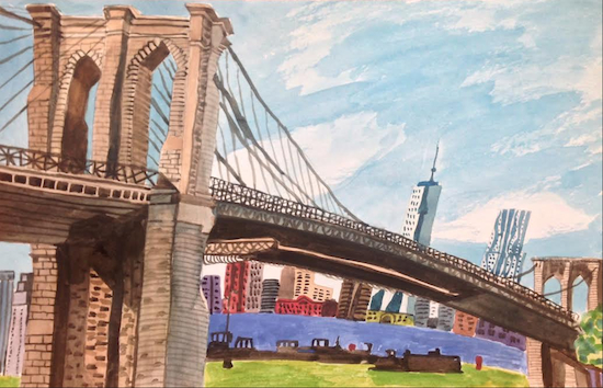 """View from Brooklyn Bridge Park,"" by Alicia Degener, of Bay Ridge, 12"" x 18"" watercolor on paper. Images courtesy of NYCreates"