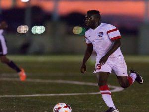 Junior John Makaya's goal last Friday night at Brooklyn Bridge Park sent defending champion St. Francis back to the NEC Tournament. Photo courtesy of SFC Athletics