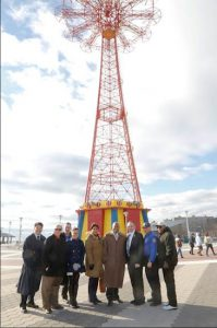 Brooklyn Borough President Eric L. Adams, with the partnership of Council Member Mark Treyger and the Alliance for Coney Island, announces the first-ever New Year's Eve ball drop at the historic Parachute Jump in Coney Island. Photo Credit: Kathryn Kirk/Brooklyn BP's Office