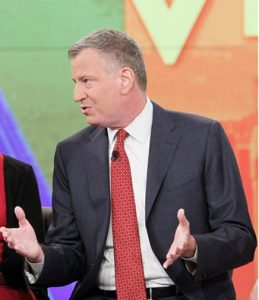 "Mayor Bill de Blasio, appearing on ""The View"" on Tuesday. AP Photo/ABC, Lou Rocco"