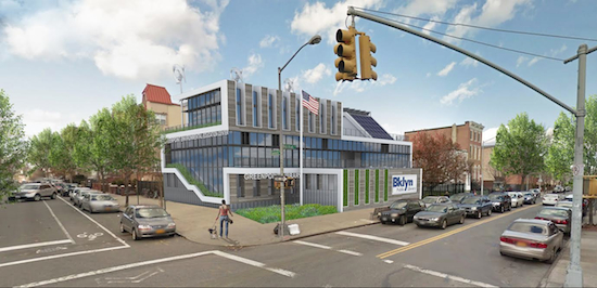 The Greenpoint Environmental Education Center will be built at Brooklyn Public Library's Greenpoint branch, thanks to a $5 million legacy grant from the Greenpoint Community Environmental Fund. Artist rendering of proposed facility © Beatty Harvey Coco Architect