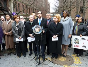 Shown: State Sen. Daniel Squadron, at the podium. Other officials, from left to right, include BP Eric Adams, U.S. Representative Nydia Velazquez, Comptroller Scott Stringer, Assemblymember-elect Jo Anne Simon, and Public Advocate Letitia James. Photo by Mary Frost