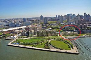 The Department of Buildings has issued a partial stop work order halting construction at 130 Furman St., the southern portion of the Pierhouse project at Pier 1 in Brooklyn Bridge Park, circled here. Rendering courtesy of Toll Brothers City Living