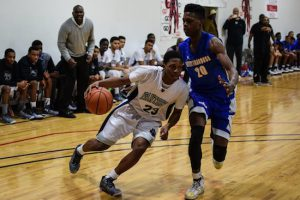 Even though they are in a lower division and were at a huge height disadvantage, Anthony Munson and Bedford Academy managed to upset Westinghouse in the first round of the Brooklyn Boro Playoffs Tuesday night. Photo by Rob Abruzzese.