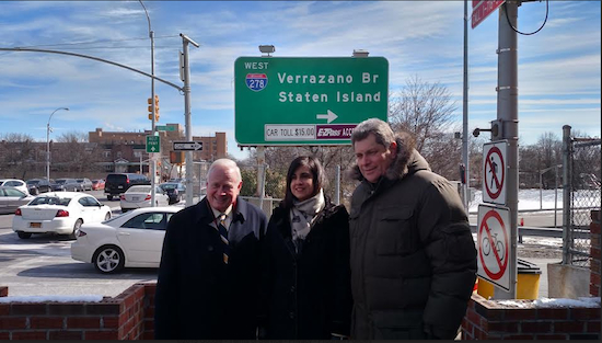 State Sen. Marty Golden (left), and assembly members Nicole Malliotakis and Alec Brook-Krasny came together on Tuesday to call on the MTA to offer discounts to anyone who drives on the Verrazano-Narrows Bridge three or more times a month. Currently, only Staten Island residents receive a discount. Photo courtesy of Golden's office