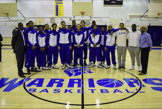 """The Westinghouse varsity basketball team and coaches no longer have to play on the """"wrestling mat"""" which is good timing as the PSAL playoffs begin next week. Eagle photos by Rob Abruzzese"""