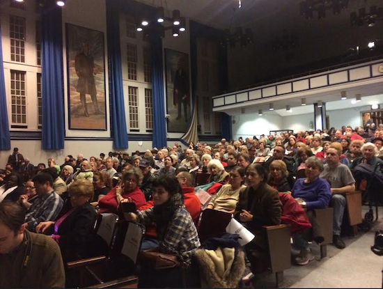 Hundreds of concerned residents turned out for a meeting at Abraham Lincoln High School to discuss the construction plans. Photo used with permission