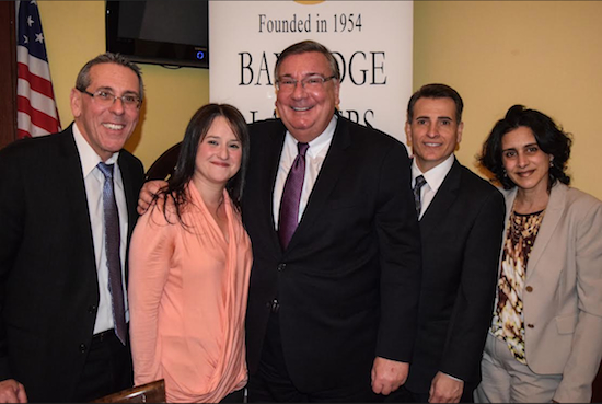 The Bay Ridge Lawyers Association (BRLA) welcomed Hon. Matthew D'Emic (center) at its monthly CLE meeting. Pictured from left: BRLA Secretary Stephen A. Spinelli, Vice President Grace M. Borrino, Hon. Matthew D'Emic, Corresponding Secretary Joseph R. Vasile and President Lisa M. Becker. Eagle photos by Rob Abruzzese