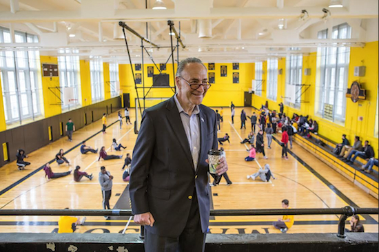 U.S. Sen. Charles Schumer pays a visit to the school gym during a morning in which he relived his days at James Madison High School. Eagle photos by Bill Kotsatos. See www.brooklynarchive.com for additional photos.