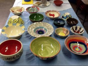 A sampling of the hand-crafted, decorated bowls that will be sold at the May 2 fundraiser. Photo courtesy Empty Bowls Bay Ridge Project