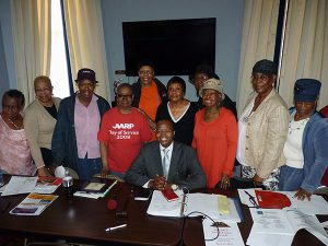 Brooklyn District Attorney Kenneth Thompson met with AARP's Clinton Hill Chapter 2197 at Emmanuel Baptist Church last Friday. Photo by Mary Frost