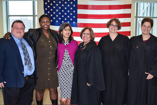 Brooklyn's Family Court celebrated marriage equality at its second annual LGBTQ event. From left: Marc Levine, president of The Alliance — the Gay/Straight Alliance of the New York State courts; Yoruba Richen; Judy Yu; Hon. Jeanette Ruiz; Hon. Amanda White; and Hon. Jacqueline Deane. Eagle photos by Rob Abruzzese