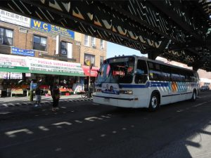 The B1 bus travels along 86th Street in Bensonhurst on its way to Manhattan Beach. Eagle file photo by Paula Katinas