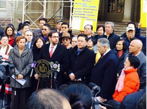 Officials and the Asian-American community rallied at City Hall in March to urge the city to designate the Lunar New Year as an official school holiday. Photo by Yuh-line Niou