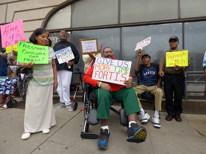 Patients and officials rallied last week outside the Brooklyn Kidney Center in Park Slope, which is closing in less than 30 days. Fortis Property Group obtained the building as part of the Long Island College Hospital (LICH) sale. Photos by Mary Frost