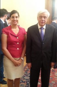 Assemblymember Nicole Malliotakis, pictured with Greek President Prokopis Pavlopoulos in Athens, says she discussed the Greek debt crisis with officials in that country. Photo courtesy Malliotakis's office