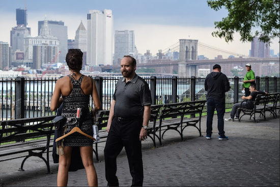 """Brooklyn Heights' own Paul Giamatti was spotted on the Brooklyn Heights Promenade filming scenes for the Showtime show """"Billions"""" last week. While some enjoyed it, many complained that the crews took up two full blocks with their trucks and shut down part of the Promenade. Eagle photos by Rob Abruzzese"""