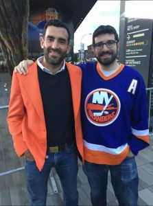 John Bourne (left) and Jake Berlin show off their Islander colors in advance of Monday night's preseason opener at the Barclays Center, where Brooklyn's new NHL franchise will officially kick off its inaugural season here on Oct. 9. Eagle photos by John Torenli