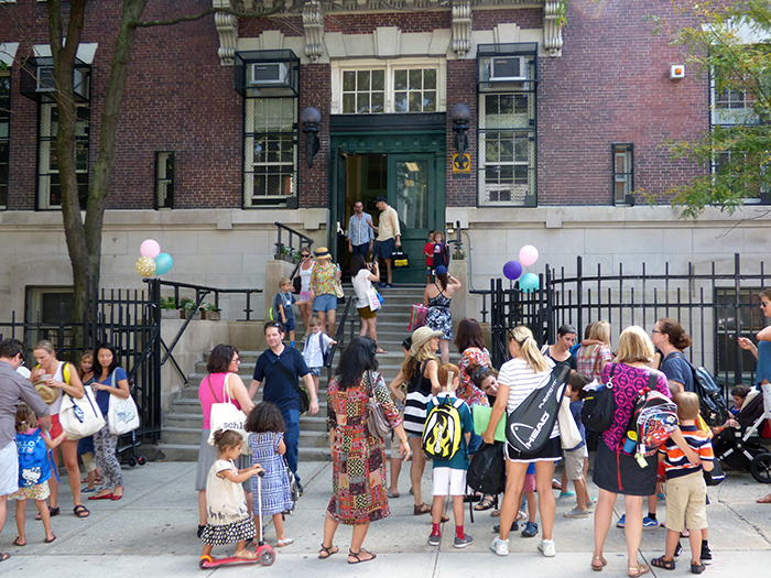 It was back to school for more than one million kids attending New York City public schools Wednesday morning. Shown: P.S. 8 in Brooklyn Heights. Photo by Mary Frost