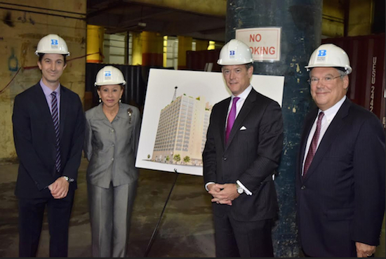 From left: David Ehrenberg, president and CEO of the Brooklyn Navy Yard; Congresswoman Nydia M. Velazquez; Matt Erskine, U.S. deputy assistant secretary of Commerce for Economic Development; and Hank Gutman, chairman of the Brooklyn Navy Yard. Eagle photo by Rob Abruzzese