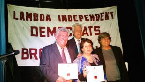 From left: Democratic Chairman Frank Seddio, LID Executive Board Member Tom Burrows, Supreme Court Justice Debra Silber and LID Executive Board Member Kay Mackey. Photo courtesy of Lambda Independent Democrats of Brooklyn