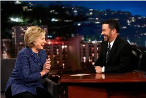 "Democratic presidential candidate Hillary Rodham Clinton, left, laughs with host Jimmy Kimmel, Thursday, Nov. 5, 2015, during ""Jimmy Kimmel Live"" in Hollywood, Calif. It's Kimmel's birthday today. Randy Holmes/ABC via AP"
