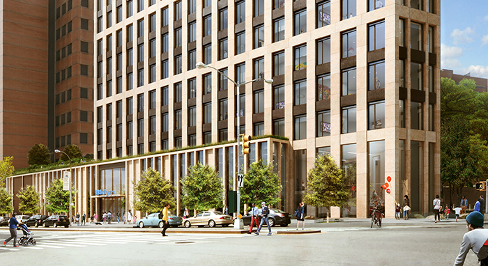Hudson Companies plans to build a 36-story residential tower on the current Brooklyn Heights Library site at 280 Cadman Plaza West. Rendering courtesy of Marvel Architects