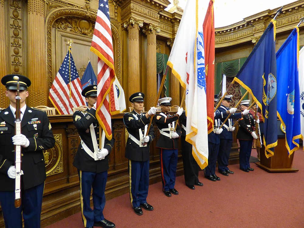 A color guard ushered in the ceremony honoring Brooklyn's veterans on Monday.