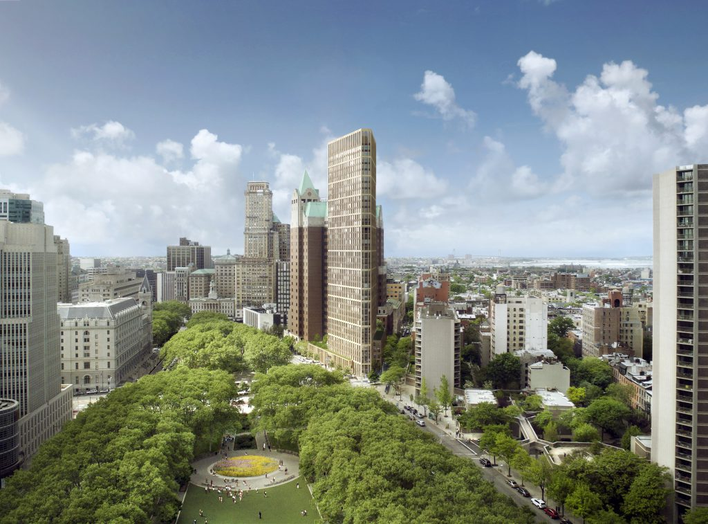 Hudson plans to build a 36-story condo tower (shown center), with some ground floor retail, and 114 units of affordable rentals in Clinton Hill. Rendering courtesy of Marvel Architects
