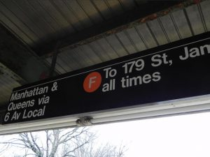 The sign at the 18th Avenue F train station in Borough Park reads local, but Councilmember David G. Greenfield hopes to change it to express. Eagle photo by Paula Katinas