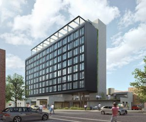 Here's a rendering of the Hoxton, a hotel that's under construction on the former site of Rosenwach Tank Co.'s wood mill. Rendering courtesy of Ennismore