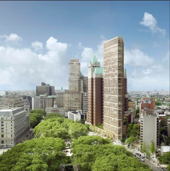 Hudson plans to build a 36-story luxury tower, shown center right, on the site of the Brooklyn Heights Library. Rendering courtesy of Marvel Architects