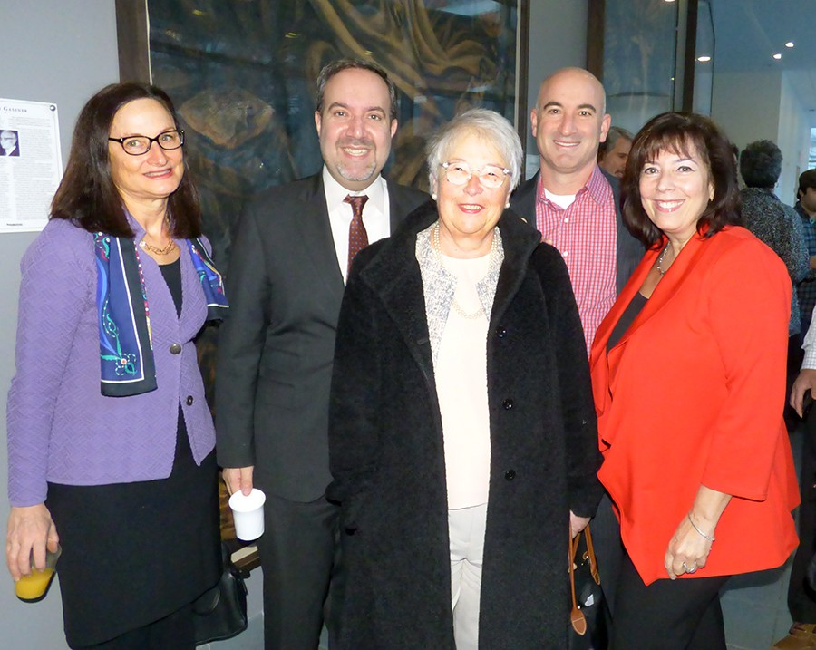 Attending Thursday's event were (from left) Brooklyn Bridge Park President Regina Myer, Chamber President and CEO Carlo Scissura, Schools Chancellor Carmen Fariña, Hudson Companies Principal David Kramer, and Chamber Chair Denise Arbesu. Photo by Mary Fro