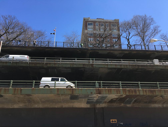 The triple cantilever of the Brooklyn-Queens Expressway (BQE). Eagle photos by Scott Enman