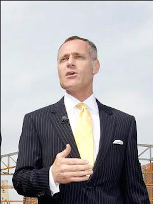 """Barclays Center CEO Brett Yormark. Calling it a """"season of learning a lot,"""" Yormark said he is pleased with the New York Islanders' first year in Brooklyn. AP Photo/Kathy Willens, File"""