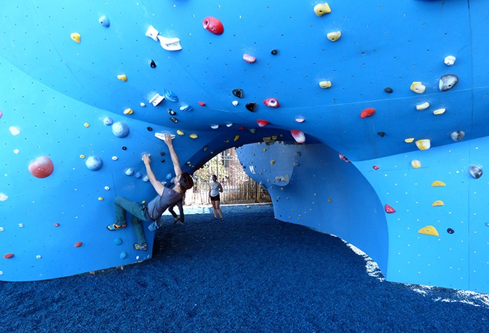 The climbing walls, already attracting serious climbers, are located under the Manhattan Bridge. Soft padding coats the ground.