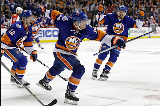 Thomas Hickey ended the first-ever NHL playoff game in Brooklyn with an overtime goal Sunday night, giving the hometown Islanders a 4-3 victory and a 2-1 series lead over the Florida Panthers. AP photo