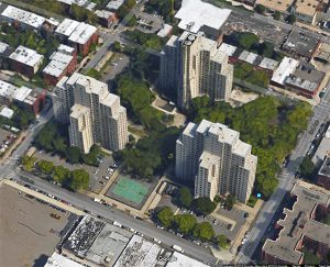 Wyckoff Gardens housing development in Boerum Hill, shown above, is the first NextGen Neighborhood site in Brooklyn. The city is looking for residents who will represent their neighbors and work with developers who are building on unused property at the complex. Image data © Google Maps
